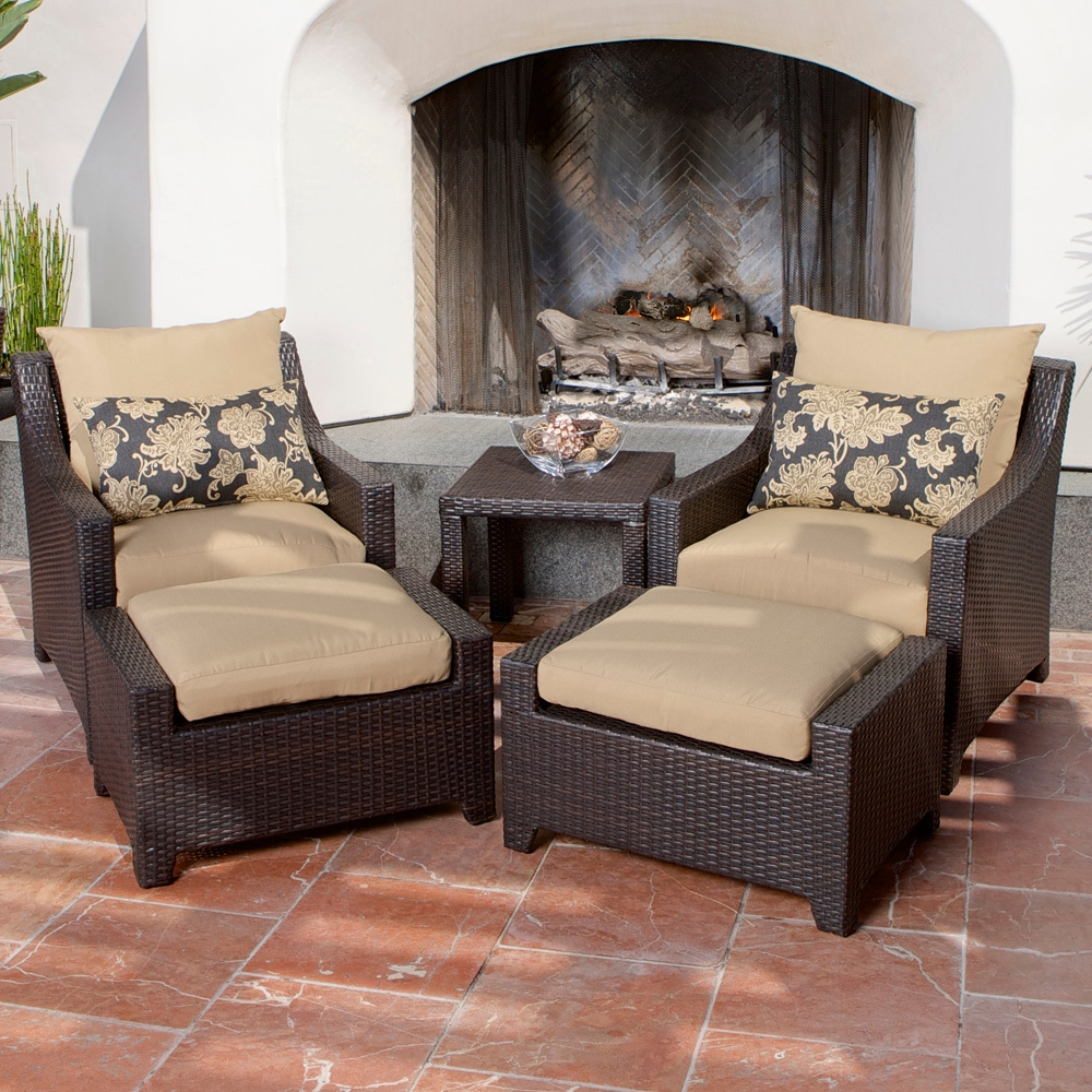Delano 5 Piece Outdoor Chair And Ottoman With Side Table Set Patio